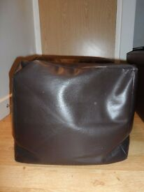 Brown Cube Leather Effect Beanbag/Pouffe - Great in Lounge/Bedroom £5