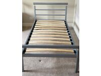 Silver/Grey metal single bed frame (and mattress)