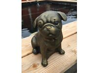 Bronze Pug Dog Outdoor Indoor Garden Stone Concrete Cast Statue Ornament
