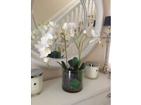 Artificial orchid and glass vase