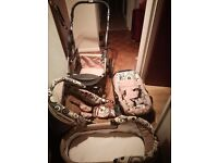 RRP- £360-HARDLY USED-3-in-1 GERMAN Travel System with car seat+carry cot+pushchair-COLLECTION ONLY