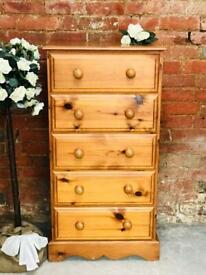 Tall slim solid pine chest of drawers bedroom storage