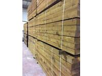 Brown tanalised timber sleepers