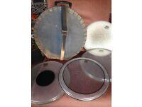 Spare drum heads and drum case