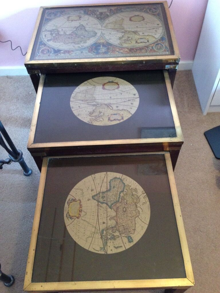 For Sale Side Tables Nest Antique Map Style In