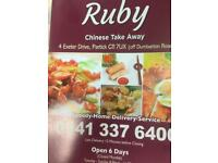 Chinese takeaway in partick is looking for part time counter staff