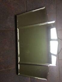 Genuine Art Deco mirror, fan shaped, bevel edged. Original condition.