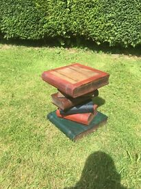 Wooden side table stack of books hand made rustic can deliver size 42 x 34 x 32 cm