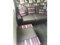 Purple and grey frabric 2 piece suite with foot stool