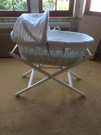 White Moses basket & stand