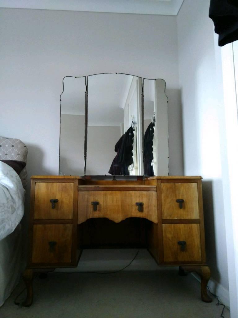 Vintage Dressing Table 1930s walnut veneer