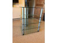 HiFi rack - Alphason AD5/47. Hi-Fi rack for full sized separates. 5 glass shelves, 3 legs.