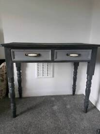 painted grey shabby-chic pine dressing table with drawers