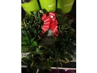Fresh holly wreaths and crosses