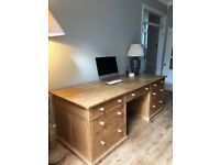 Vintage pine bespoke desk made of solid old and new pine
