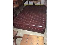 EXTRA LARGE CHESTERFIELD LEATHER OXBLOOD FOOTSTOOL