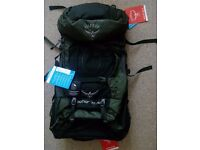 Brand New Osprey Men Aether AG 70L Rucksack/ Backpack - M (Green) with raincover £150