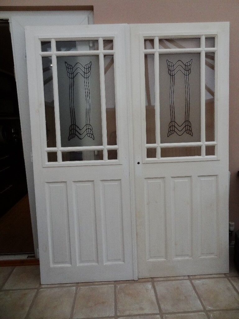 Interior Painted Glass Panel Doors Art Deco Patterned Upper Glass
