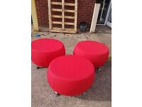 New Funky Red modular office stool seats / Red reception modular seating stools