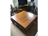 Thai coffee table from Thailand in good condition and child's desk with side extensions & chair