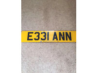 NUMBER PLATE FOR SALE E331 ANN