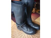 ASH Ladies Black Leather Biker Boots NEW (see photos)
