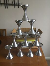 16 chrome pillar candle holders brand new 16cm h x 9.5 cm w