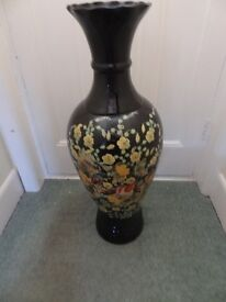 VERY LARGE VICTORIAN BIRD DECORATED VASE/STICK VASE? V.G.CONDITION. 84CM (33 IN'S HIGH). 12 INCH DIA