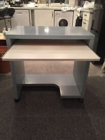 BRAND NEW white and blue desk - perfect condition with wheels