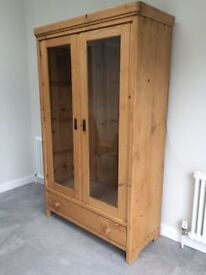 Antique Pine Cabinet with 3 glass shelves and drawer