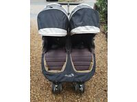 City Mini Double Buggy by Baby Jogger in Grey/Black with BNIB Rain Cover
