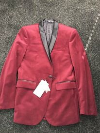 Burgundy Farah Skinny Velvet Blazer / Jacket With Shawl Lapel