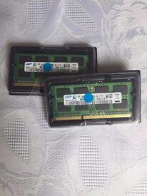 SAMSUNG 8GB 2x4GB PC3-10600 DDR3 1333MHZ 204pin laptop RAM MEMORY APPLE MAC ETC