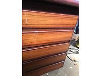 Dark wood veneer desk and matching filing cabinet