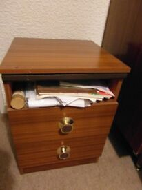 BEDSIDE TABLE UNIT, TWO DRAWERS, can deliver