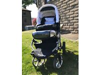 Twing 3-in-1 Travel System, High Quality Baby Pram with Accessories, Colour Black and White