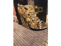 Glitterati Leopard Print Wedge Shoes