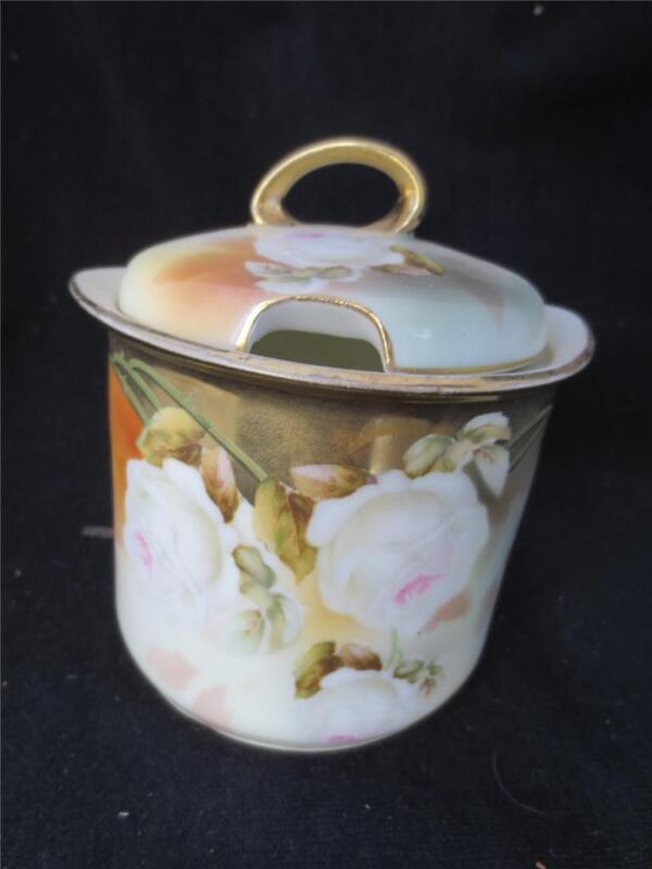 Vintage/Antique Porcelain RS Germany Cabbage Rose Jam/Mustard Jar Gold Guild