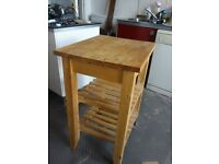 Kitchen trolley (on wheels) in birch