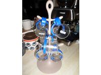 BODUM BLUE GLASS DRINK UP BISTRO MUGS X 6 BODUM MUG TREE CARAVAN CAMPING