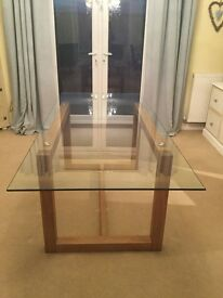 Next solid oak frame glass top dining table