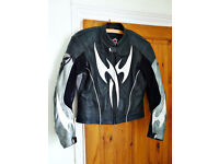 "Mens Hein Gericke Armoured Leather Jacket Black/White Size Small 38"" Chest"