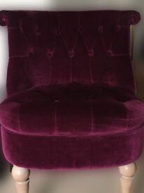 Plum velvet NEXT chair-Good Condition