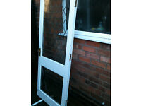 Exterior door with double glazing and lead over the glass