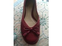 CLARKS ladies red flats 5 1/2