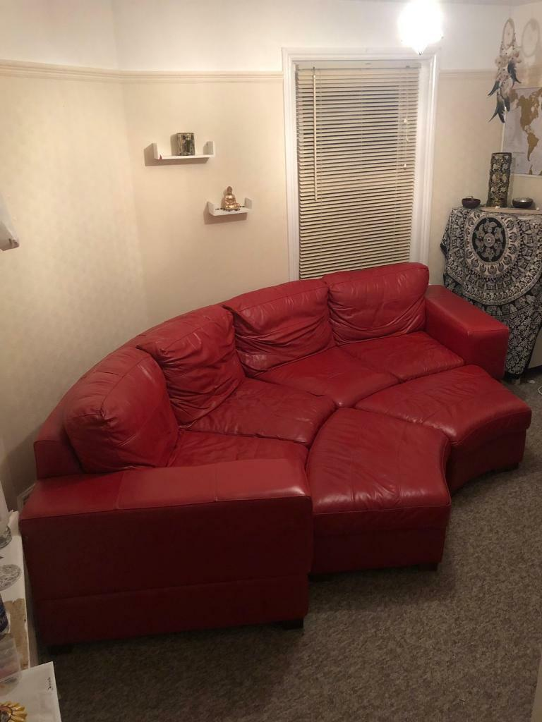 Large Curved Red Leather Sofa Accepting Offers In Bournemouth Dorset Gumtree