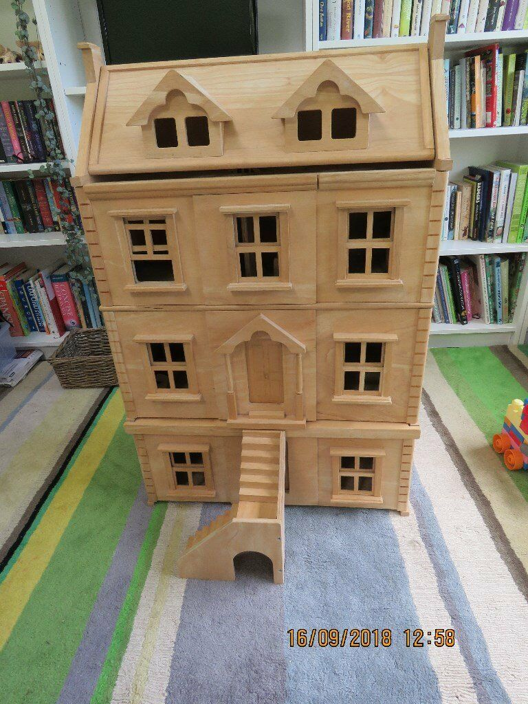 Plan Toys Victorian Dolls House With Basement And Furniture In