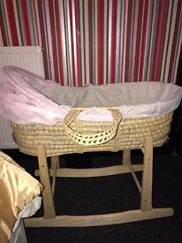 Clair de lune pink moses basket and rocking stand