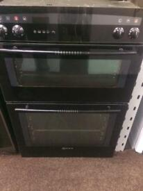Black neff 60cm by 85cm integrated electric grill & double fan assisted ovens with guarantee