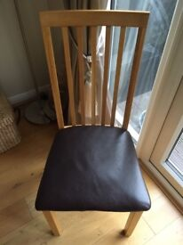 2 Oak and brown leather dining chairs